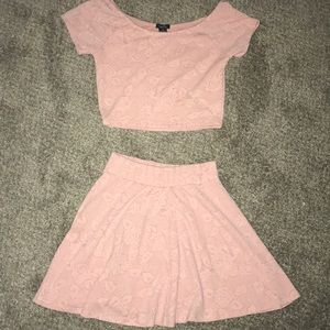 Two piece skirt and crop top set